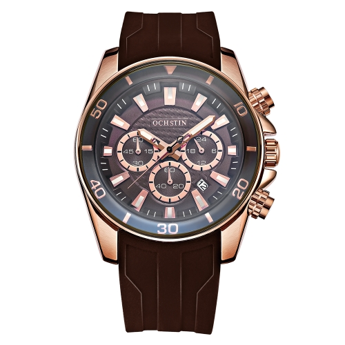 OCHSTIN Fashion Sport Silicone Men Watches Quartz 3ATM resistente al agua luminoso hombre reloj calendario cronógrafo