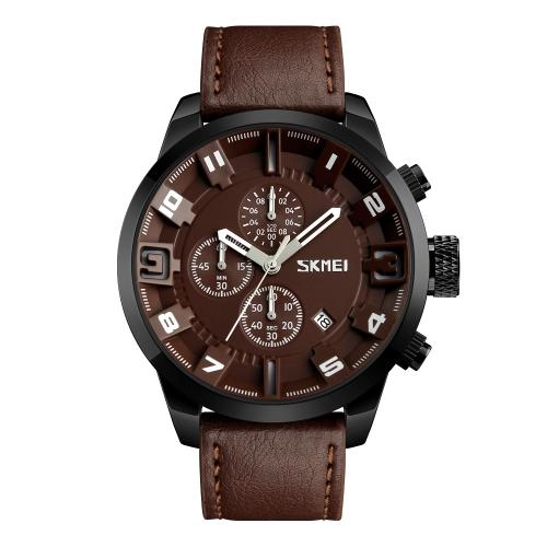 SKMEI reloj de cuarzo casual de moda 3ATM relojes de hombre resistente al agua reloj de pulsera de cronógrafo de cuero genuino Calenda macho