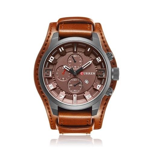 Curren Men Sport Quartz Watch Fashion Calendar Watches Big Dial Leather Strap Wristwatch