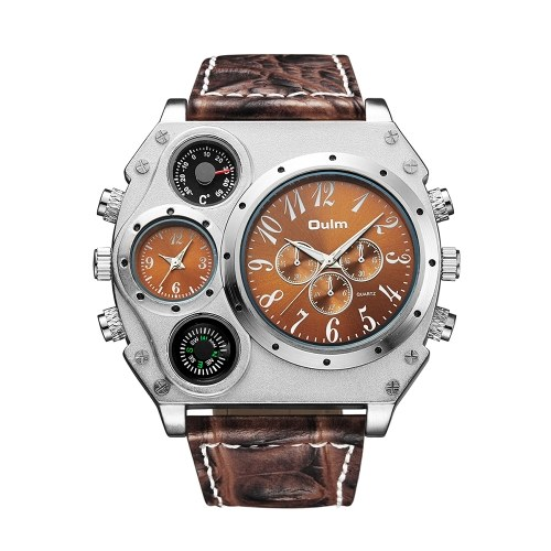 OULM Men Quartz PU Leather Band Wrist Watch Personalized Oversized Case Thermometer Compass Dual Quartz Movements Watches