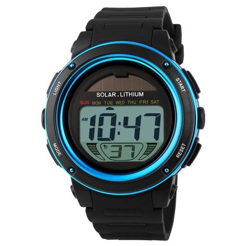 SKMEI Solar Powered Zegarek sportowy z cyfrowym wyświetlaczem 5ATM Wodoodporne podświetlenie chronografu