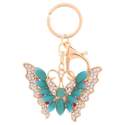Hermoso multicolor del Rhinestone de cristal Opal mariposa colgante llavero moda mujeres joyería coche llavero monedero bolso encanto accesorios regalo