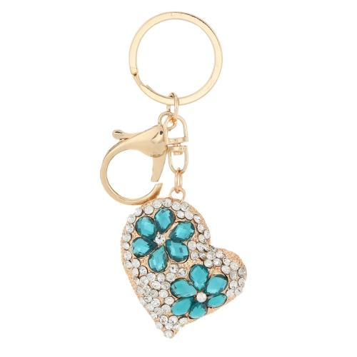 Biżuteria Hollow Shinning Rhinestone Crystal Heart Wisiorek Car Keyring Breloczek na prezent