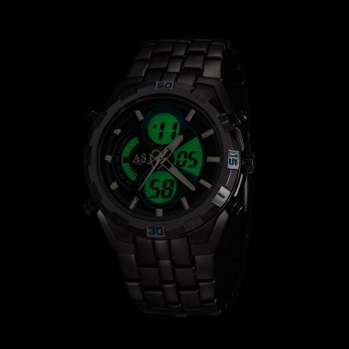 Image de Business Sport militaire ASJ masculine enveloppe Quartz montre double mouvement japonais affichage analogique à numérique temps Date jour alarme chronographe en acier inoxydable acier Bracelet bande résistant à l'eau 3ATM