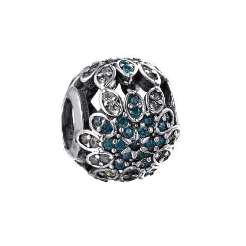 Romacci S925 plata lujo encanto flor grano con brillantes CZ diamante de 3mm pulsera brazalete regalo accesorio de la joyería DIY moda elegante mujer