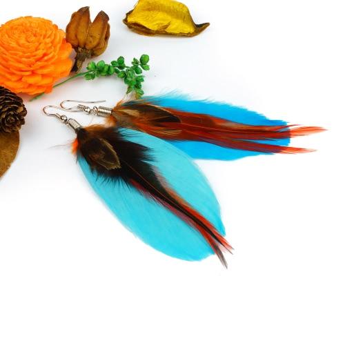 Mujeres moda plumas de largo colores Linda araña cuelgan pendiente gotas joyería accesorios regalo
