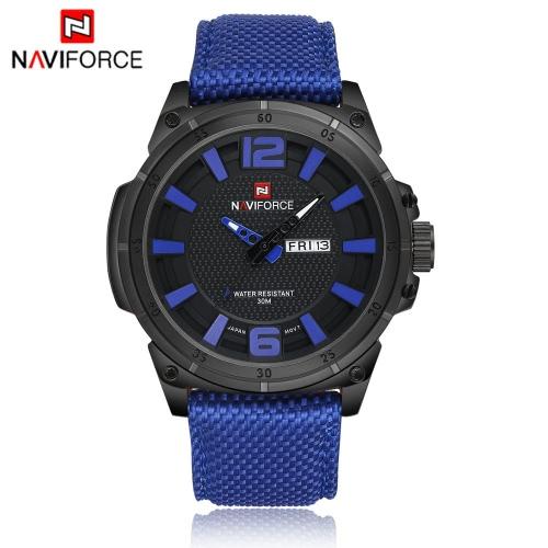 Nawigacja NAVIFORCE Fashion 3ATM Wodoodporny zegarek kwarcowy Nylonowy zegarek kwarcowy dla mężczyzn