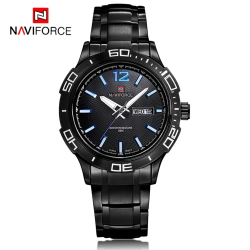 NAVIFORCE High Quality Durable Stainless steel Watch 3ATM Water Resistant Man Quartz Wristwatch with Calendar Luminous Hands
