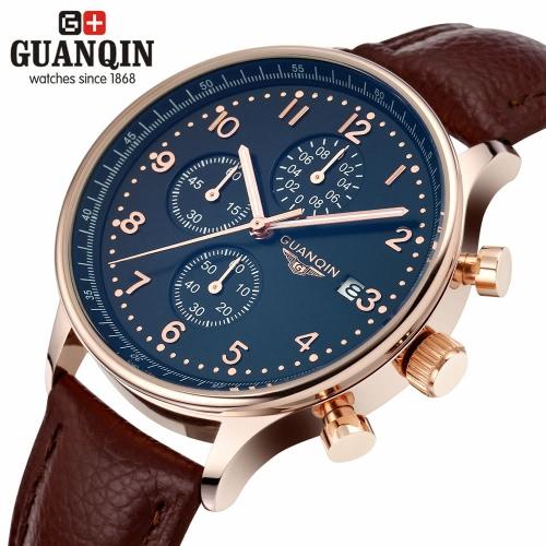 GUANQIN luxo marca moda couro genuíno homens Casual quartzo relógio 30m impermeável Calendar relógio masculino negócios com 3 sub-marca