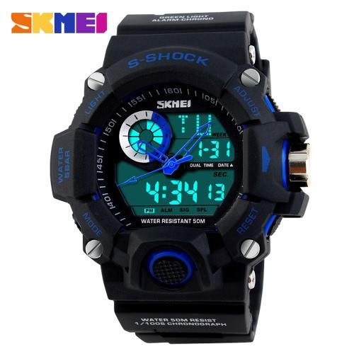 SKMEI Profesional de doble tiempo multifuncional de alta calidad de los hombres Deportes reloj de pulsera Reloj electrónico al aire libre resistente al agua con funciones de fecha Semana Alarma Split Tiempo