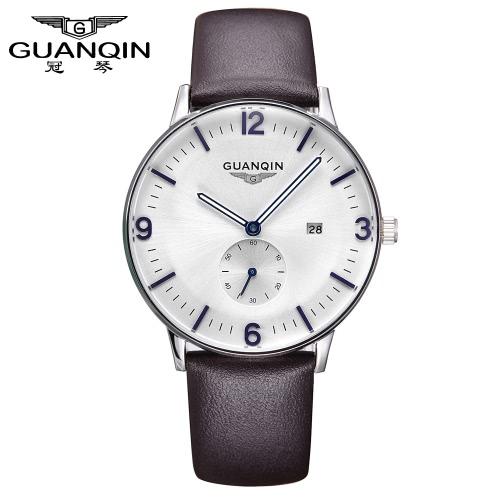 GUANQIN homem simples negócio relógio impermeável Mens relógios couro cinta masculina tendência da moda esportes comercial quartzo relógio de pulso