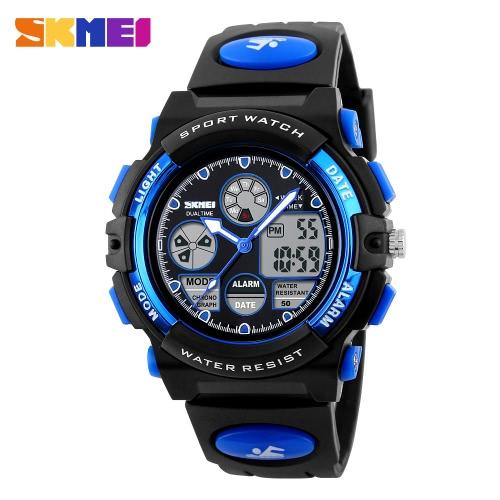 SKMEI Qualitäts-Kind-Sport-Armbanduhr-Doppelbewegungen 5 ATM wasserdichte Kinder-Uhr mit Alarm-Chronograph-Rücklicht