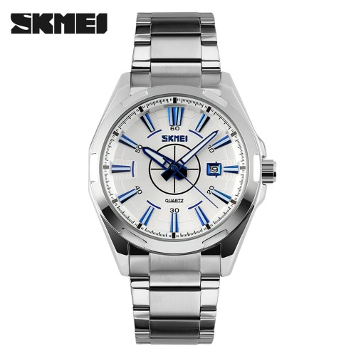 SKMEI 2016 Brand New Luxury Business Watch For Men Analog stalowe Srebrne zegarki mody przypadkowi rękę