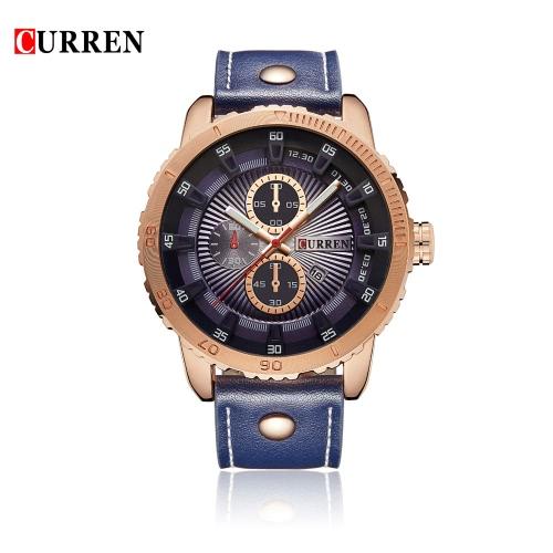 CURREN 2016 Marca Moda Hombres relojes de cuarzo resistente al agua 30M PU Casual Deportes Reloj de pulsera hombre W / Calendario Reloj para hombre