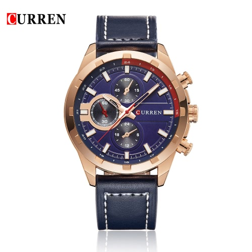 CURREN 2016 Marke Luxuxquarz Herrenuhren PU-Leder 30M Wasserdicht beiläufige Sport-Art-Mann-Armbanduhr-Geschäfts-Uhr für Mann W / 3 Sub-Zifferblätter