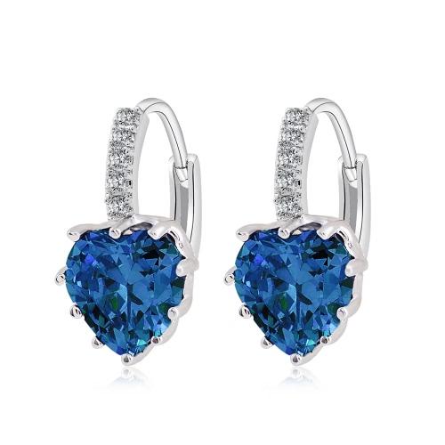 Pozłacane Luksusowe Ear Hoop Kolczyk Cyrkon Rhinestone Kryształ Moda Unikalne Brilliant Serca Dynda Charm Biżuteria Kobiety Panie prezent ślubny Party