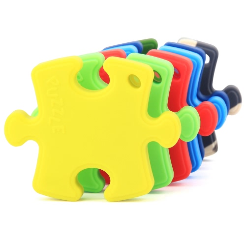 100% Food Grade Silicone Hand Held Irregular Jigsaw Puzzle Autism Awareness Teether Teething Pendant For Necklace Chew Baby Toddler Nursing Jewelry Toy Mom To Wear Bpa Free Diy