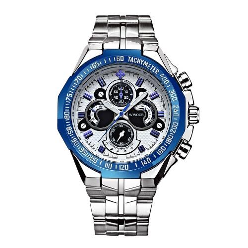 WWOOR fresca de la moda luminosa acero inoxidable deportes de los hombres del reloj del estilo a prueba de agua de los 30M del análogo de cuarzo del reloj de los hombres Casual + Caja