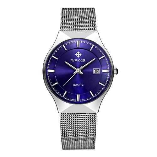 WWOOR 2016 Ultra Thin Dial acoplamiento de la manera relojes de acero inoxidable Calendario del análogo de cuarzo ocasional de los hombres del reloj de 30M a prueba de agua + caja del reloj