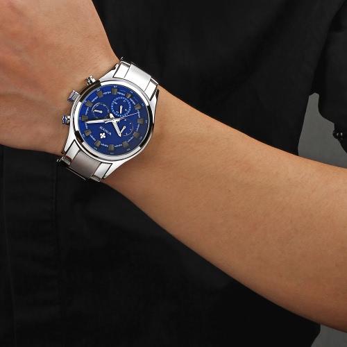 WWOOR Fashion Multi-function Luminous Quartz Analog Mens Watches Water-proof Business Man Wristwatch with 24H/Week/Date Display + Watch Box
