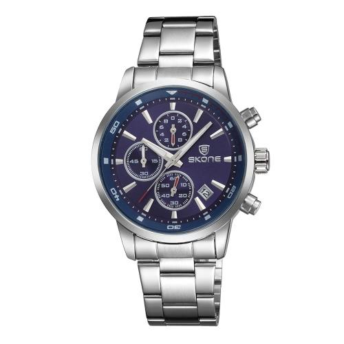 SKONE de 2016 la marca de moda a prueba de agua de los 30M del vestido lleno de acero reloj de los hombres de negocios Calendario de cuarzo reloj de pulsera ocasional Mans