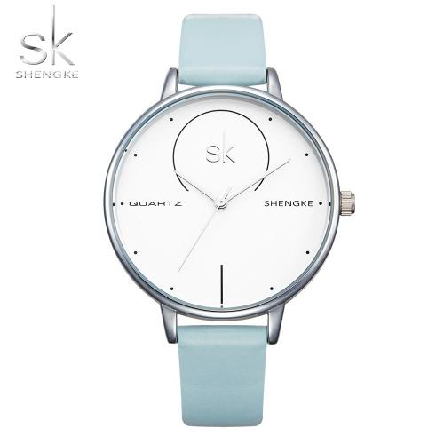 SK 2017 Moda Prostota Quartz Kobiety Przypadkowy Zegarek na rękę Wodoodporny Pasek PU Damskie Zegarki Zegarki Feminio Relogio