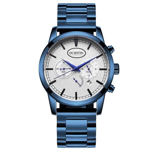 OCHSTIN Luxo de aço inoxidável Homens Relógio de negócios Quartz Chronograph Water-Proof Sports Style Relógio de pulso casual Masculino Relogio + Box