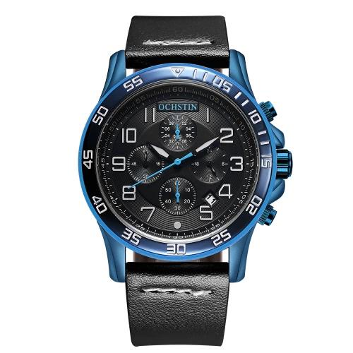 OCHSTIN Art- und Weiseleuchtende Militärart-Quarz-Mann-Armbanduhr-echtes Leder-wasserdichte beiläufige Uhr Masculino Relogio + Kasten