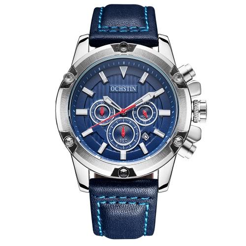 OCHSTIN de lujo de estilo militar hombres de cuarzo luminoso reloj de cuero grande de cuero impermeable reloj cronógrafo casual + caja