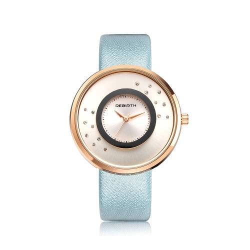 REBIRTH marca de lujo de cuarzo de diamantes de las mujeres relojes de agua a prueba de cuero de PU Ladies Casual reloj de pulsera buen regalo