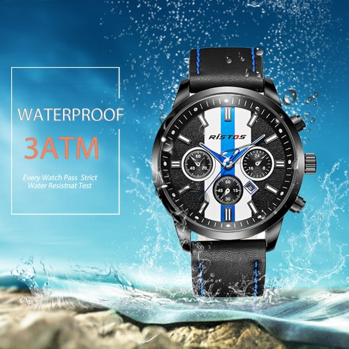 RISTOS 2017 Fashion Sports Quartz Men Watch Racing Car Style Water-Proof Man Casual Wristwatch Cool Chronograph Watch Masculino Relogio + Box