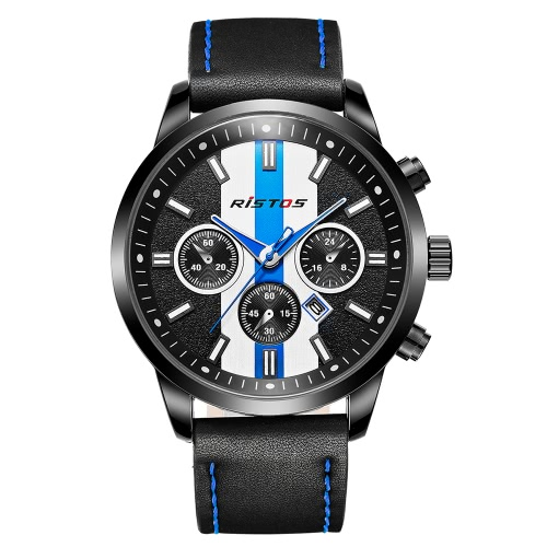 RISTOS 2017 Moda Esportes Quartz Men Watch Racing Car Style Water-Proof Man Relógio de pulso casual Cool Chronograph Watch Masculino Relogio + Box