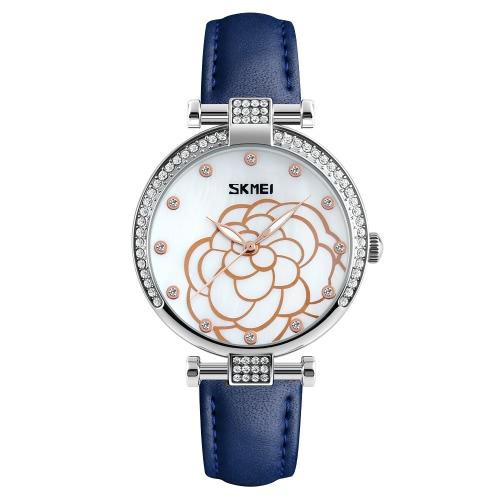 SKMEI 3ATM impermeable Moda Casual Reloj Mujeres Relojes de cuarzo Reloj de pulsera de cuero genuino Mujer Relogio Feminino