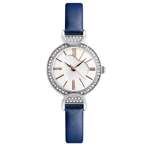 SKMEI 3ATM Water-resistant Dress Watch Women Quartz Watches Genuine Leather Wristwatch Female Relogio Feminino