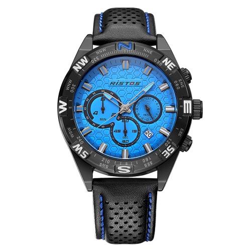 RISTOS 3ATM Reloj resistente al agua de los hombres del reloj del deporte Reloj de pulsera masculino