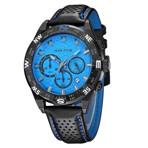 RISTOS 3ATM Water-resistant Sport Watch Men Quartz Watches Male Wristwatch Relogio Musculino Calendar