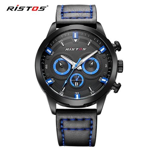 RISTOS 3ATM Relógios de pulso resistentes à água Homens relógios de quartzo Relógio de pulso luminoso Calendário Masculino