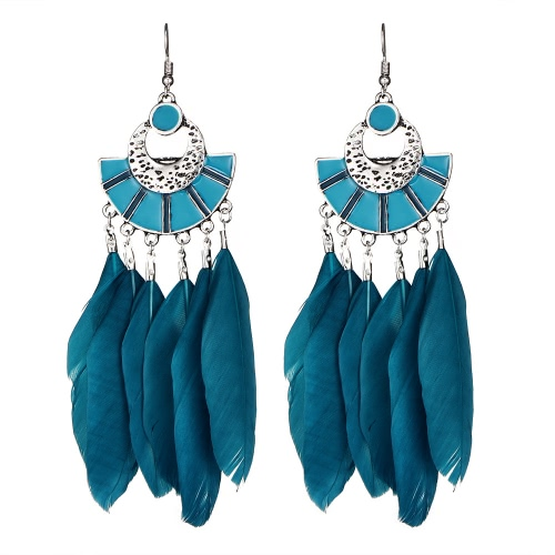 Vintage Big Long Brincos Bijoux Presente Moda Pena Brinco Mulheres Bohemian Ethnic Tassel Dangle Earrings
