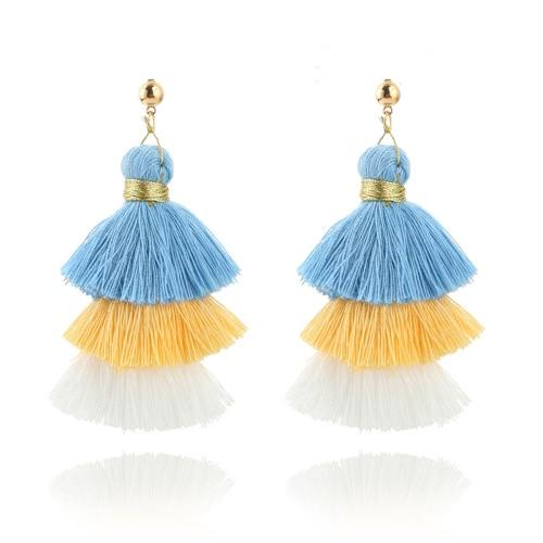 Modische Art und Weise drei Farben-Spleiß-Troddel-Haken-Franse Boho baumeln Tropfen-Ohrring-Frauen-Schmucksachen