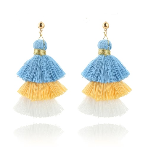 Trendy Moda Trzy Kolor Splice Tassel Hook Fringe Boho Dangle Drop Kolczyki Biżuteria Damska