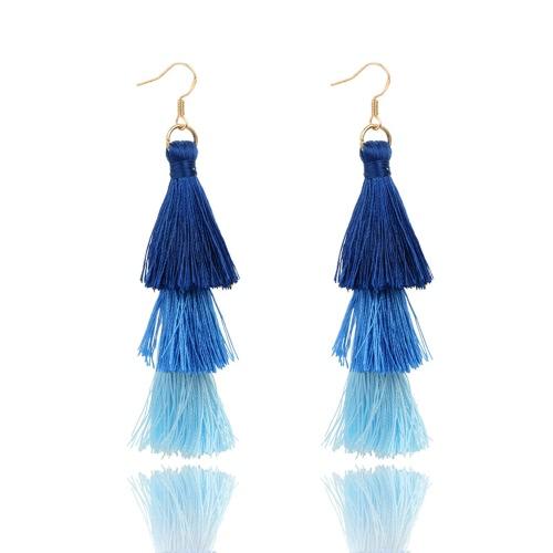 Art und Weise Retro- Böhmen-dreischichtige Farben-lange Franse baumeln Haken-Ohrringe für Frauen-Schmucksachen