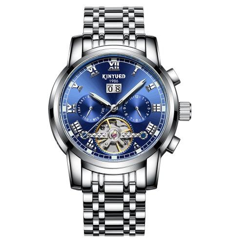 Reloj de negocio de KINYUED mecánico automático 3ATM resistente al agua reloj de hombres luminosos reloj de hombres calendario masculino