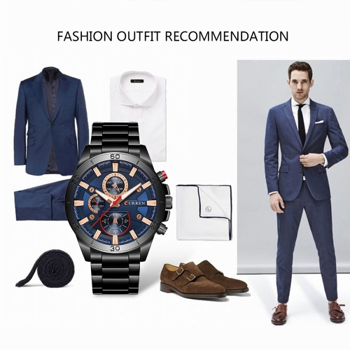 CURREN 2017 Fashion Luminous Stainless Steel Men Watch Quartz Water-Proof Man Business Wristwatch Chrono