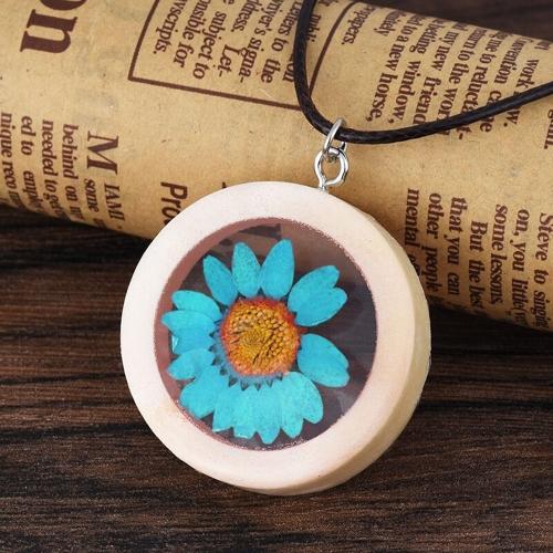 Collar de madera redondo hecho a mano collar de la flor de la margarita secada natural para la joyería de las mujeres