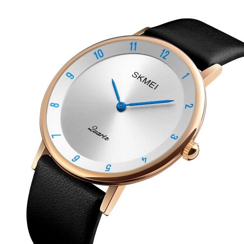 Reloj de cuarzo casual SKMEI Fashion 3ATM Reloj resistente al agua para hombre Reloj de pulsera de cuero genuino Hombre Relogio Musculino