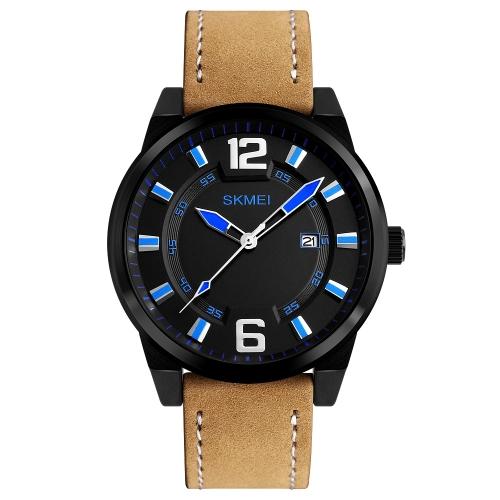 SKMEI Fashion Casual Quartz Watch 3ATM Water-resistant Men Watch Relógio de pulso de couro genuíno Masculino Calendário