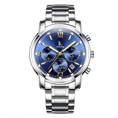 IKColouring Fashion Casual reloj de cuarzo 3ATM resistente al agua hombres reloj luminoso reloj cronógrafo masculino