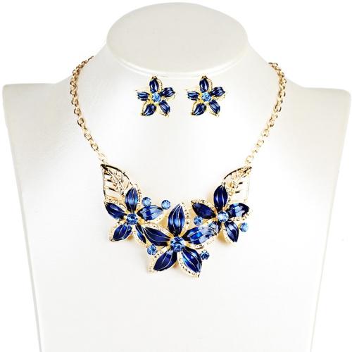 Conjunto de joyas de moda flores gota diamante corto collar pendientes mujeres accesorio del partido