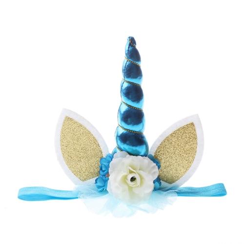 Diadema de cuerno de unicornio hecho a mano para bebé niños Cosplay Photo Props Party Costume