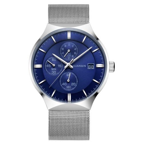 GUANQIN Relógios de aço inoxidável de moda 3ATM Life Quartz resistente à água Casual Homem Wristwach Calendário